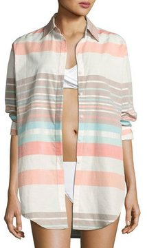 Letarte Stripe Button-Down Beach Shirt, Multicolor