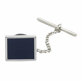 Asstd National Brand Rhodium-Plated Tie Tack with Blue Enamel Center