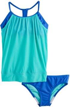 Speedo Girls 7-16 Mesh Overlay Blouson Tankini Top & Bottoms Swimsuit Set