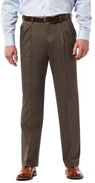 Haggar Men's Premium Classic-Fit Stretch Pleated Dress Pants