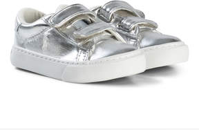 Ralph Lauren Silver Metallic Velcro Trainers with White Pony