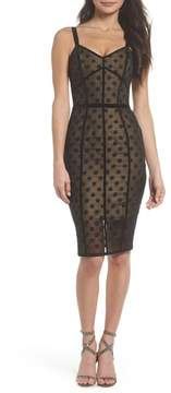 Isabella Collection BRONX AND BANCO Noir Dot Embroidered Body-Con Dress
