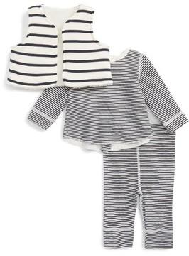 Petit Bateau Infant Boy's Stripe Vest, Tee & Leggings Set
