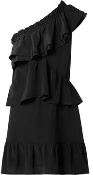 IRO Brooka One-shoulder Ruffled Washed-silk Mini Dress - Black