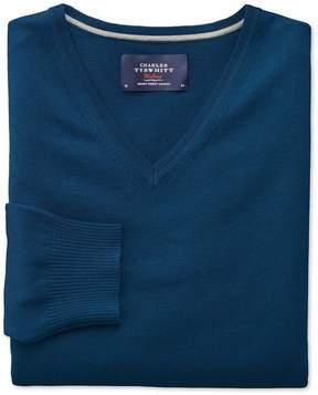 Charles Tyrwhitt Blue Merino Wool V-Neck Sweater Size Large