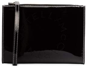 Stella McCartney Black logo print faux leather zip clutch bag