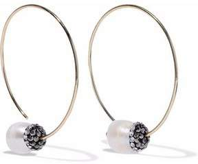 Kenneth Jay Lane Gold-Tone Crystal And Faux-Pearl Earrings