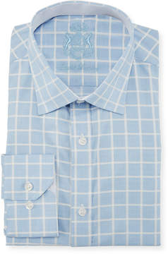 English Laundry Classic-Fit Checkered Dress Shirt, Light Blue