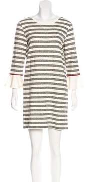 White + Warren Striped Knit Dress