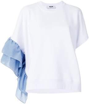 MSGM asymmetric frill sleeve top