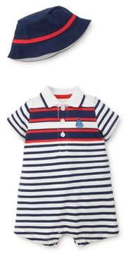 Little Me Baby Boy's Two-Piece Sailboat Cotton Hat and Romper Set