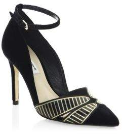 LK Bennett Open Court Velvet Ankle-Strap Pumps