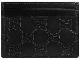 Gucci Signature Leather Card Case - BLACK - STYLE