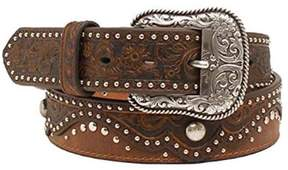 Ariat A1520202-S 1.5 in. Womens Embossed Nailhead Belt, Brown - Small
