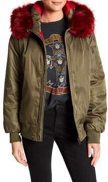 Blanc Noir Colored Faux Fur Trim Zip Bomber Jacket
