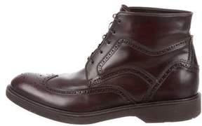 Salvatore Ferragamo Leather Wingtip Boots