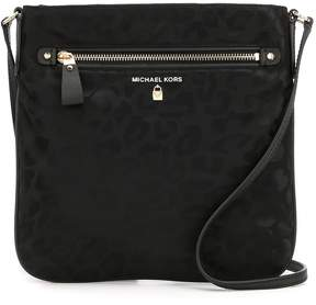 MICHAEL Michael Kors Kelsey Nylon Leopard-Print Animal Jacquard Large Cross-Body Bag - BLACK - STYLE