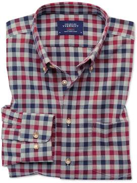 Charles Tyrwhitt Slim Fit Button-Down Non-Iron Twill Red and Navy Gingham Cotton Casual Shirt Single Cuff Size Large