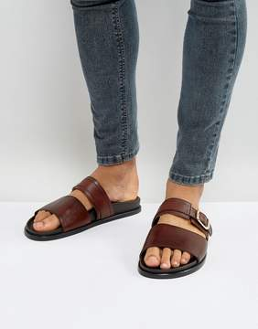 Aldo Bacon Leather Sliders In Brown