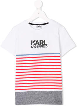 Karl Lagerfeld striped logo T-shirt