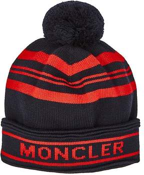 Moncler Men's Pom-Pom-Embellished Virgin Wool Beanie