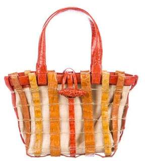 Nancy Gonzalez Crocodile-Trimmed Mini Toggle Tote