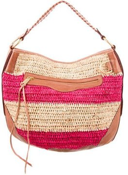Rebecca Minkoff Leather-Trimmed Straw Bag - BROWN - STYLE