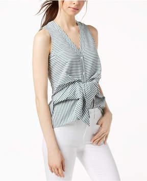 Bar III Striped Sleeveless Asymmetrical-Hem Top, Created for Macy's