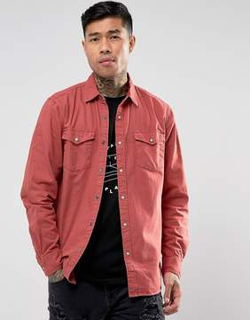 Pull&Bear Western Over Shirt In Red