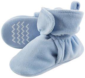 Hudson Baby Light Blue Velour Non-Skid Fleece Booties - Boys