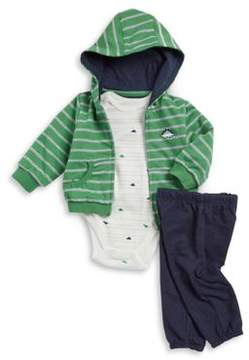 Little Me Baby Boy's Three-Piece Hooded Stripe Sweatshirt, Cotton Bodysuit and Pants