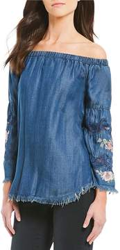 Chelsea & Theodore Embroidered Off the Shoulder Top