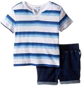 Splendid Littles Ombre Printed Stripe Shorts Set (Infant)