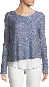 Chelsea & Theodore Open-Knit Twofer Sweater
