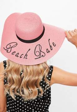 Missguided Pink Emroidered Graphic Large Straw Hat