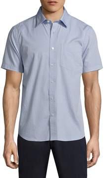 Jack Spade Men's Clift Diamond Print Pinpoint Oxford Sportshirt