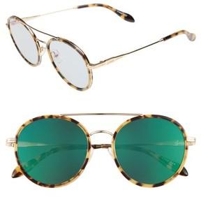 Sonix Women's Charli 50Mm Mirrored Lens Round Sunglasses - Brown Tortoise/ Mossy Mirror