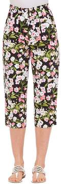 Allison Daley Floral Print Rivets Tab Hem Detail Pull-On Capri Pants