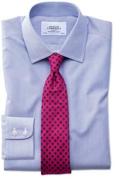 Charles Tyrwhitt Classic Fit Non-Iron Hairline Stripe Royal Blue Cotton Dress Shirt Single Cuff Size 15.5/34