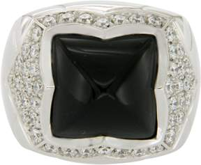 Bulgari 18K White Gold Black Onyx and 1.35ct Diamond Pyramid Ring Size 7.5