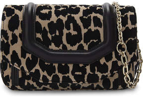 Maje Leopard-print velvet cross-body bag