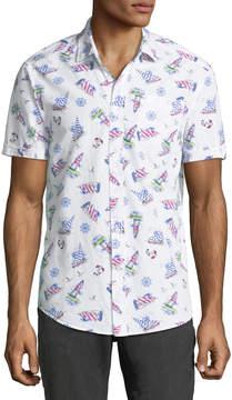 Report Collection Men's Sailboat Print Short-Sleeve Shirt