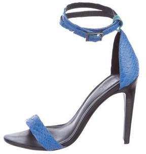 Tibi Embossed Ankle Strap Sandals