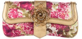 Roberto Cavalli Floral Print Satin Shoulder Bag