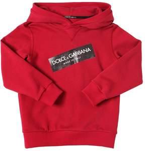 Dolce & Gabbana Logo Tag Print Hooded Cotton Sweatshirt