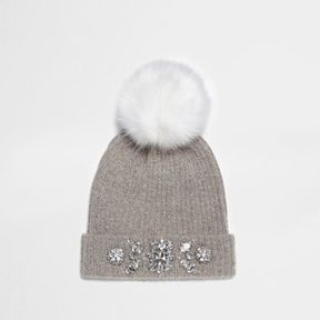 River Island Womens Grey bobble top embellished beanie hat