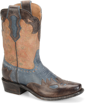 Sonora Brown & Blue Jessi Leather Cowboy Boot