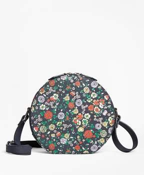 Floral Leather Circle Crossbody Bag