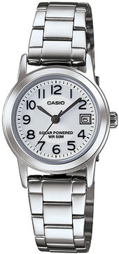 Casio Easy Reader Womens Stainless Steel Solar Bracelet Watch LTPS100D-7BVCF