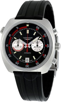 Longines Heritage Diver Automatic Chronograph Black Sunray Dial Black Rubber Men's Watch